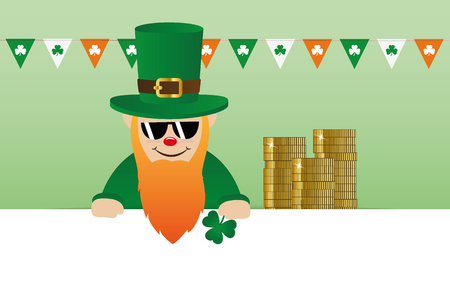 cool leprechaun character with sunglasses and many gold coins vector illustration EPS10