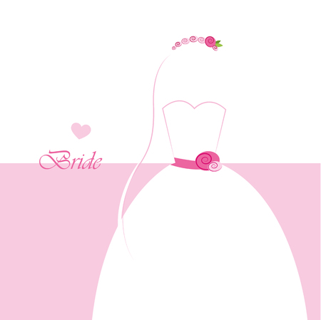 wedding dress inviting card for wedding vector illustration EPS10 Vetores