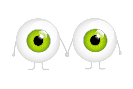 two green eyes holding hands cartoon vector illustration EPS10