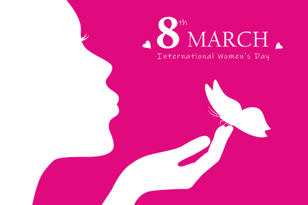 young girl with butterfly silhouette womans day 8th march vector illustration EPS10 Vectores