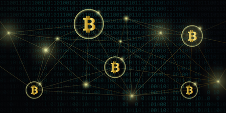 digital bitcoin network crypto currency with binary code background vector illustration EPS10