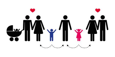big patchwork family concept pictogram vector illustration Vettoriali
