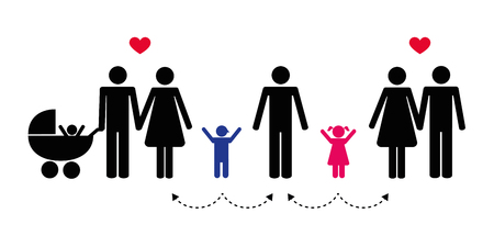 Grand concept de famille patchwork illustration vectorielle pictogramme Vecteurs