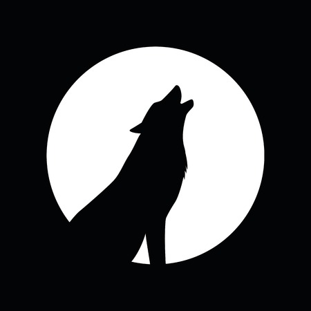 wolf and full moon silhouette vector illustration EPS10
