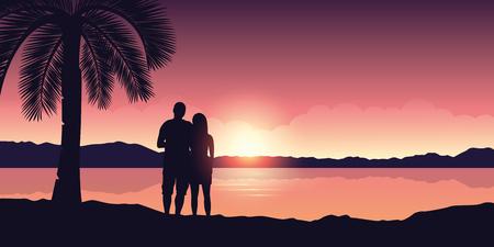 couple enjoy the sunset on a beautiful palm beach vector illustration EPS10