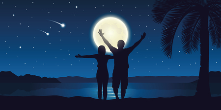 happy couple with arms raised enjoy the full moon and falling stars on the beach vector illustration EPS10