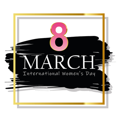 8th march international womans day black and gold card vector illustration EPS10