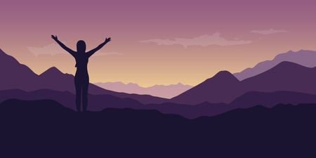 happy girl with raised arms at beautiful purple mountain nature landscape vector illustration EPS10
