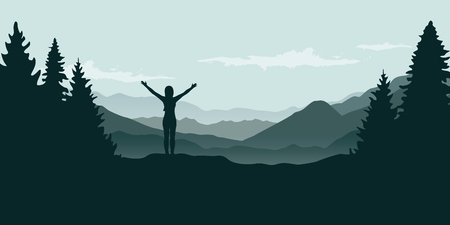 happy girl with raised arms at beautiful green mountain and forest landscape vector illustration EPS10