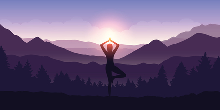 girl makes yoga tree figure in the mountain landscape view at sunrise vector illustration EPS10 Banque d'images - 125338692