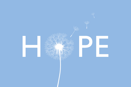 hope typography with dandelion on blue background vector illustration EPS10