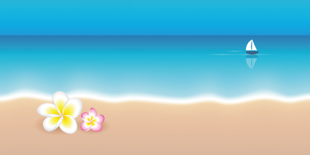 frangipani tropical flower and lonely sail boat on a calm sea summer holiday background vector illustration EPS10