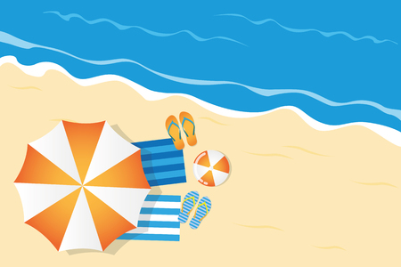 summer holiday on the beach top view with parasol flip flops and ball vector illustration EPS10 Illustration