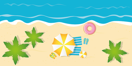 summer holiday on palm beach top view with parasol flip flops ball and floating tire vector illustration EPS10