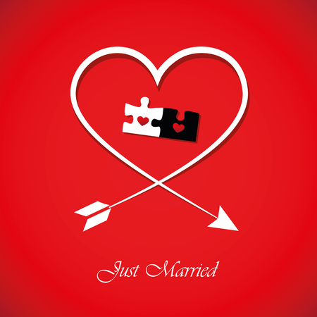 just married red inviting card for wedding with heart and puzzle vector illustration EPS10 Illustration