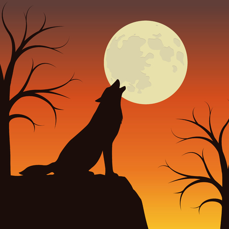 wolf howls at the full moon orange and brown landscape vector illustration EPS10 일러스트
