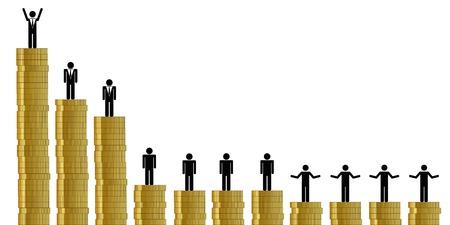 unfair financial distribution between rich and poor pictogram vector illustration EPS10 Çizim