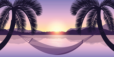 hammock between two palms at sunset on the sea vector illustration EPS10