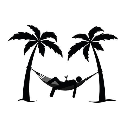 man in a hammock between palms pictogram vector illustration EPS10 Иллюстрация