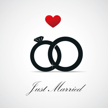 just married inviting card for wedding with rings vector illustration EPS10