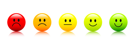 rating smiley faces red to green icon vector illustration EPS10