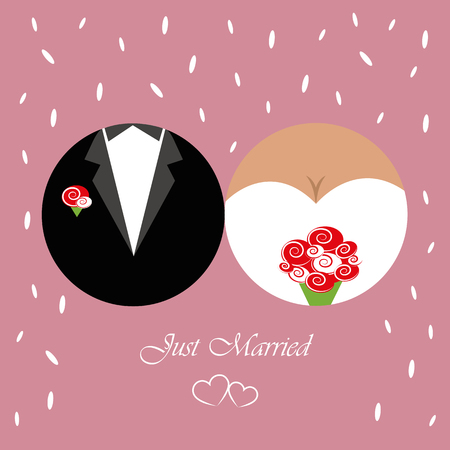 just married inviting card for wedding with traditional rice vector illustration EPS10 Vettoriali