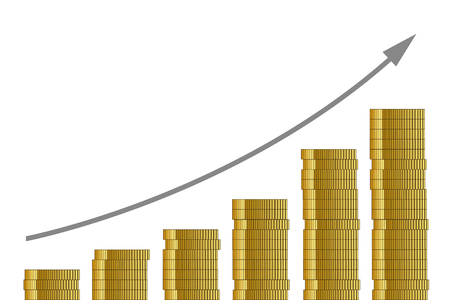 rising course many golden coins on white background finance concept vector illustration EPS10