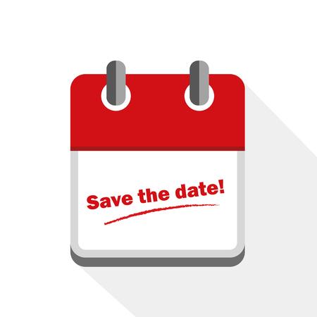 Enregistrer la date icône calendrier rouge illustration vecteur EPS10 Vecteurs
