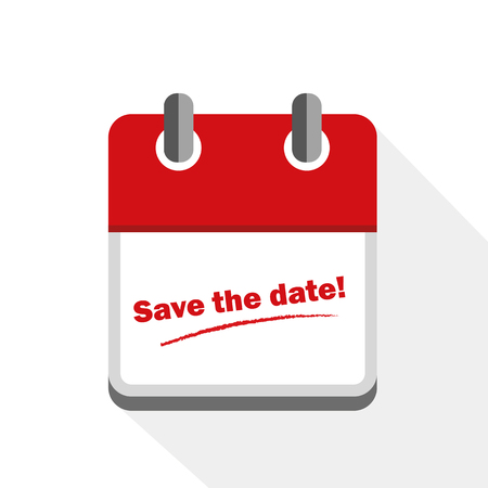 save the date red calendar icon vector illustration EPS10 Vetores