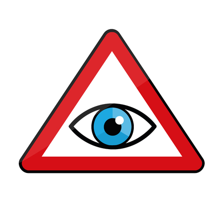 blue eye in a warning sign icon vector illustration EPS10 Ilustracja