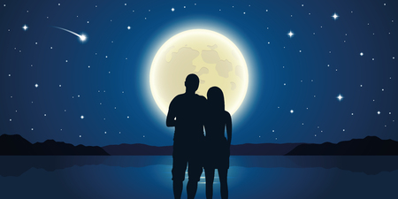 romantic night couple in love at the sea with full moon and falling stars vector illustration EPS10