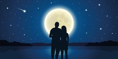 Romantisches Nachtpaar verliebt am Meer mit Vollmond und Sternschnuppenvektorillustration EPS10