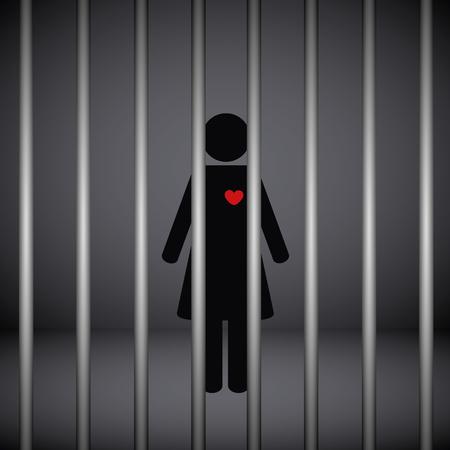 Frau mit rotem Herzen im Gefängnis auf dunklem Hintergrund-Vektor-illustration EPS10 Vektorgrafik