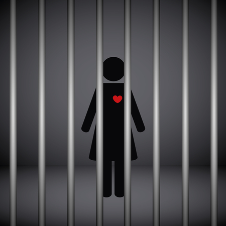 woman with red heart in jail on dark background vector illustration EPS10 Vectores