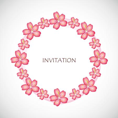 pink cherry blossom flowers of sakura circle invitation vector illustration EPS10