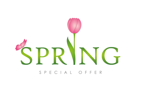 spring typography with pink butterfly and tulip vector illustration EPS10 Ilustração