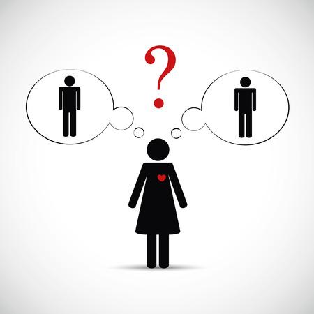 cheat partner woman think about two men pictogram vector illustration EPS10 Illustration