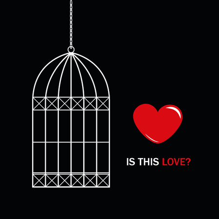 red heart outside bird cage with text is this love on black background vector illustration EPS10