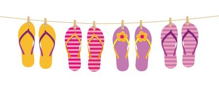 Flip-Flops hängen am Seil, das mit Wäscheklammern Vektor-Illustration EPS10 befestigt ist