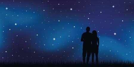 Jeune couple amoureux regarde dans le ciel étoilé illustration vecteur EPS10