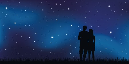 Joven pareja de enamorados mira en el cielo estrellado ilustración vectorial EPS10