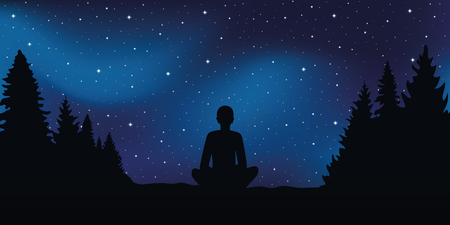 sitting person in meditation pose looks in the starry sky vector illustration EPS10
