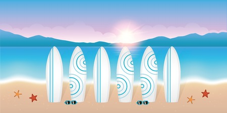 surfboards for the surf lesson on beautiful beach at sunrise with sunglasses and starfish vector illustration EPS10