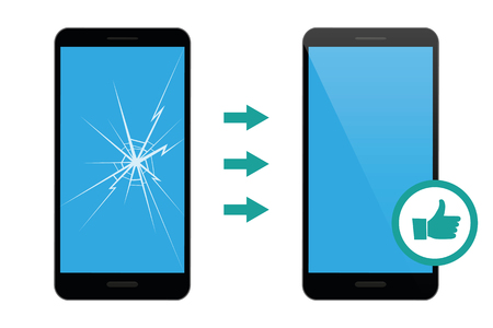 mobile phone repair service broken and repaired display vector illustration EPS10 Stock Illustratie
