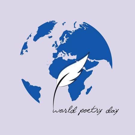 Boceto del día mundial de la poesía de una pluma estilográfica y tierra azul ilustración vectorial EPS10 Ilustración de vector
