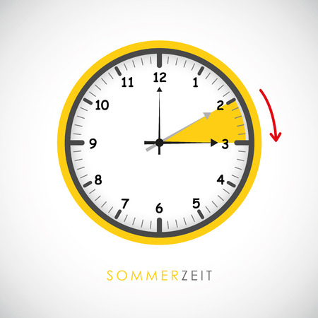 summer time clock daylight saving time with red arrow vector illustration EPS10 Illustration