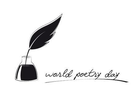 Journée mondiale de la poésie croquis de plume et encre vector illustration EPS10 Vecteurs