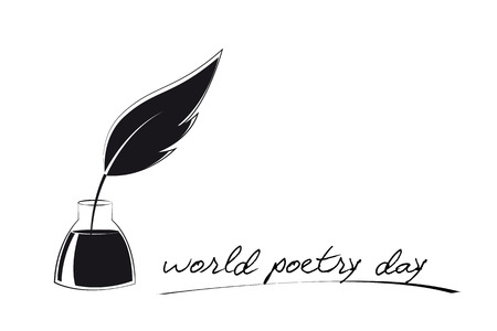 world poetry day sketch of pen and ink vector illustration EPS10 Illustration