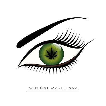 medical marijuana green human eye with cannabis leaf inside vector illustration EPS10