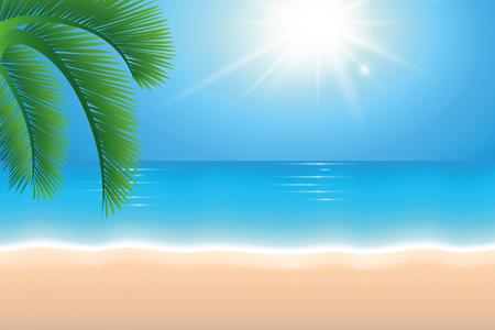 summer holiday background beach sunshine and palm tree vector illustration EPS10 Illustration